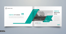 Info Card Style. White A4 Brochure Cover Design. Fancy Banner Board. Title Sheet Model Set. Modern Vector Front Page Art. City Houses Texture. Green Frame, Line Form, Brand Logo Icon. Ad Flyer Text