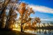 canvas print picture - Herbstlandschaft am Wasser