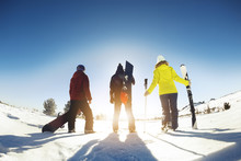 Skiers And Snowboarders Ski Re...