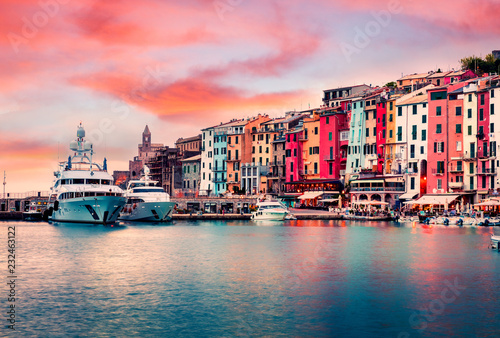 Foto op Aluminium Liguria Unbelievable sunrise in Portovenere town. Picturesque spring seascape of Mediterranean sea, Liguria, province of La Spezia, Italy, Europe. Traveling concept background.