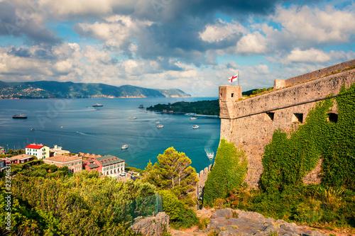 Fotografie, Tablou Sunny morning view of Portovenere town with Doria Castle