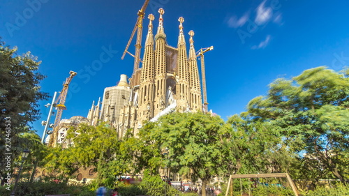 La Sagrada Familia timelapse hyperlapse - the impressive cathedral designed by Gaudi, Barcelona, Spain.