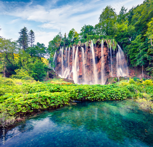 Foto op Canvas Watervallen Splendid morning view of Plitvice National Park. Colorful spring scene of green forest with pure water waterfall. Great countryside landscape of Croatia, Europe. Beauty of nature concept background.