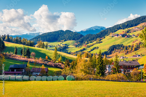 Amazing autumn view of Santa Maddalena village. Colorful morning landscape of Dolomite Alps, Italy, Europe. Beauty of countryside concept background.