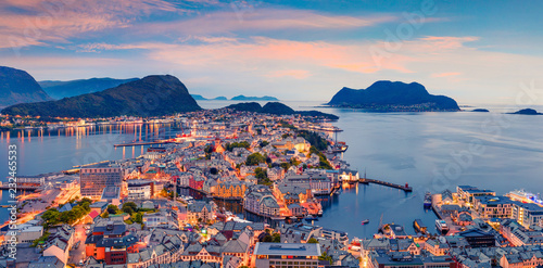 фотография From the bird's eye view of Alesund port town on the west coast of Norway, at the entrance to the Geirangerfjord