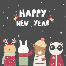 Cute New Year Greeting Card With Cartoon Animals. Vector Hand Drawn Illustration.