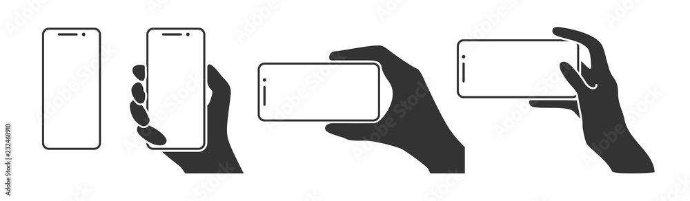 Fototapeta Hands holding a phone in horizontal and vertical positions. Blank screen smartphone for message or photo in various positions.