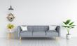 Leinwanddruck Bild - Gray sofa in living room for mockup, 3D rendering