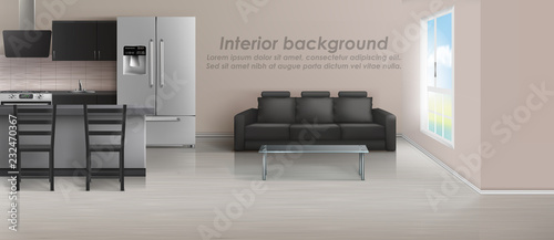 Vector mockup of studio apartment with living room and ...