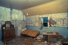 Creepy Derelict Bedroom In An ...