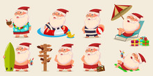 Summer Santa Claus In Shorts On Beach Vector Set. Cute Cartoon Character For Christmas Design Isolated On Background