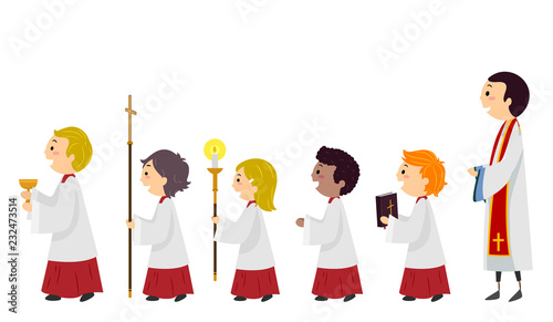 Stickman Kids Altar Boys Line Priest Illustration Fototapete