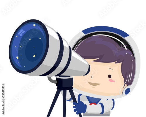 Fototapeta Kid Boy Space Telescope Illustration obraz