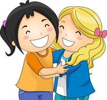 Kids Girlfriends Hug Illustrat...