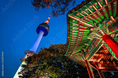 Autocollant pour porte Seoul Namsan Park and N Seoul Tower at Night in Seoul,South Korea.