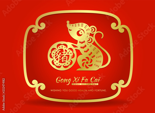 Fotografie, Obraz  Happy chinese new year 2020 card with Gold paper cut rat zodiac hold Chinese wor