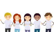 Stickman Teens Diverse Race White Shirt