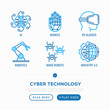 Cyber technology thin line icons set: ai, virtual reality glasses, bionics, robotics, nano robots, industry 4.0. Vector illustration.