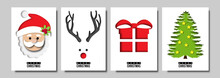 Paper Art Of Christmas Festival Card Set And Abstract Design Vector