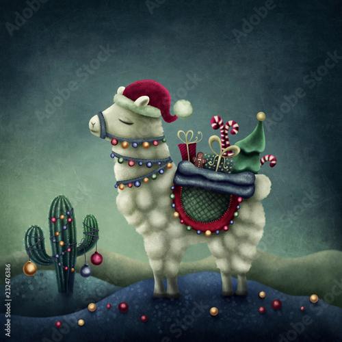 Fotografía Cute llama in santa hat