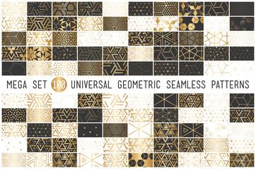 100 Universal gradient golden geometric vector seamless patterns