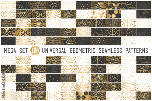 100 Universal gradient golden geometric vector seamless patterns
