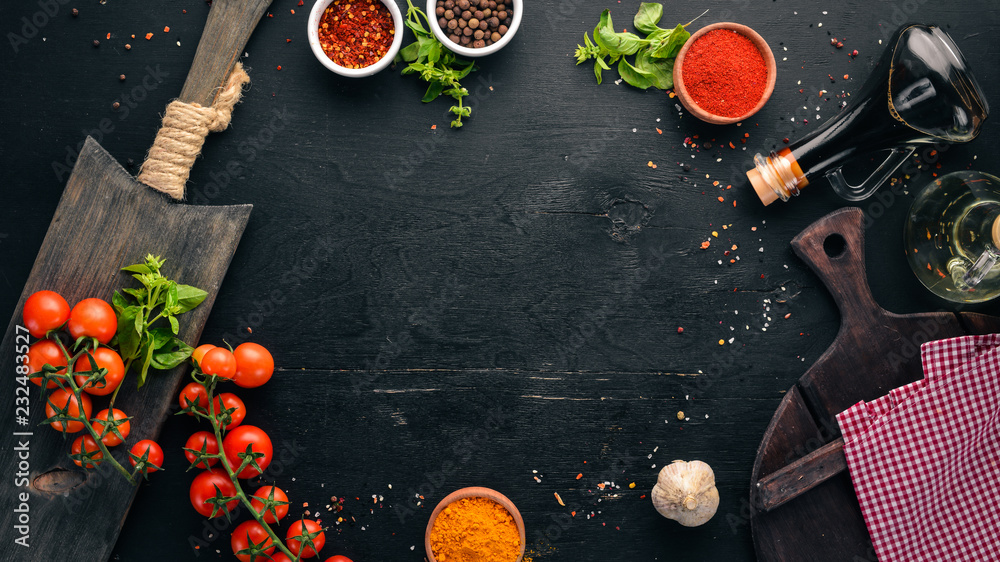 Fototapety, obrazy: Food Background. Cooking. On the old background. Free copy space. Top view.