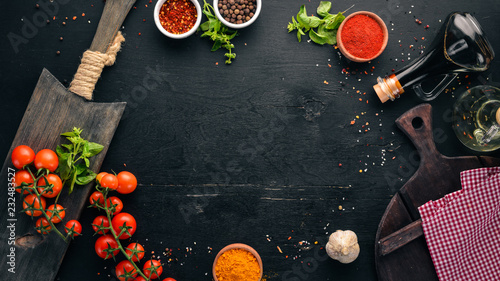 Tuinposter Eten Food Background. Cooking. On the old background. Free copy space. Top view.