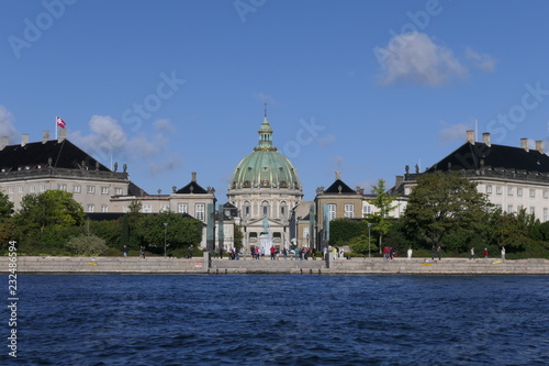 Panoramic view to the Frederik's Church from a canal in Copenhagen, Denmark Canvas Print