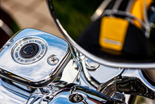 A Fragment Of A Motorcycle And Its Chromed Elements