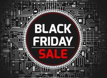 Black Friday Chipset Background. Futuristic Chipset Technology Sales Banner. Vector Black And White Horizontal Illustration.