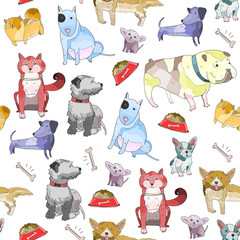 Hand drawn various breeds of dogs. Colored doodle vector seamless pattern