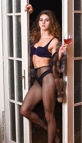 de51ab6172b Seduction art concept. Woman seductive appearance. Woman seductive model  wear luxury fur and elite lingerie. Confident in her magnetism.