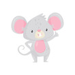Cute little mouse standing and showing thumb up. Funny cartoon character. Flat vector icon