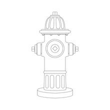 Red Fire Hydrant   Vector Illustration   Lining Draw