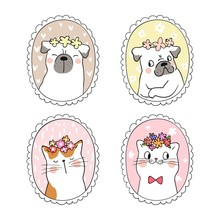 Draw Cat And Pug Dog With In V...