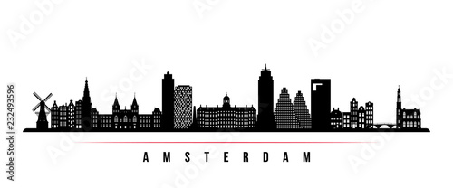 Amsterdam city skyline horizontal banner Wallpaper Mural