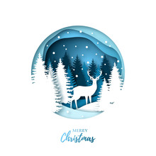 Deer In Winter Night Forest. Paper Cut  Style. Origami Illustration. Christmas Design. Vector Illustration.
