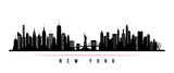 Fototapeta New York - New York city skyline horizontal banner. Black and white silhouette of New York city, USA. Vector template for your design.