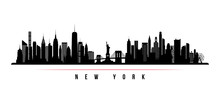New York City Skyline Horizontal Banner. Black And White Silhouette Of New York City, USA. Vector Template For Your Design.