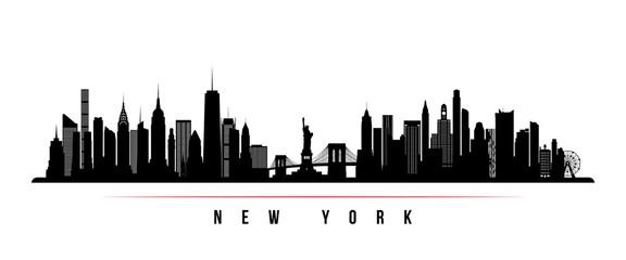 Horyzontalny baner panoramę Nowego Jorku. Czarno-biała sylwetka Nowego Jorku, USA. Wektorowy szablon dla twój projekta.
