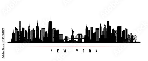 Fototapeta New York city skyline horizontal banner. Black and white silhouette of New York city, USA. Vector template for your design. obraz