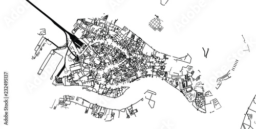 Fototapeta Urban vector city map of Venice, Italy