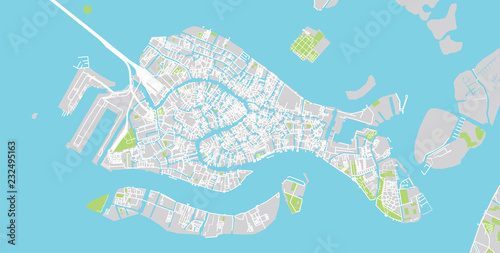 Fotografie, Obraz Urban vector city map of Venice, Italy