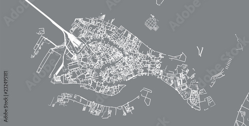 Obraz na plátně Urban vector city map of Venice, Italy