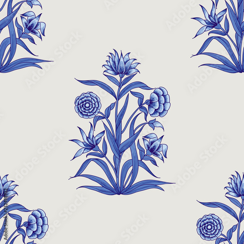 Woodblock printed indigo dye seamless ethnic floral all over pattern. Traditional oriental motif of India Mogul with bouquets of carnations, blue hues on ecru background. Textile design. Wall mural