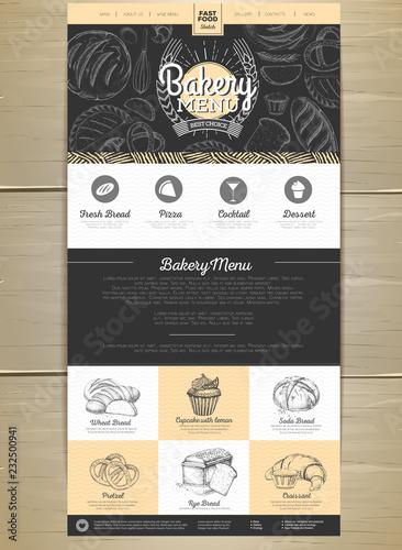 Fotografie, Obraz  Bakery menu concept Web site design. Corporate identity.