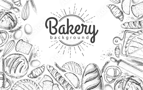 Fotografia Bakery background. Top view of bakery products