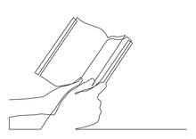 Continuous Line Drawing Of Two Hands Holding Book