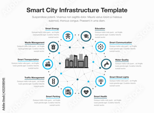 Fotografía  Simple vector infographic for smart city infrastructure with icons and place for your content, isolated on light background